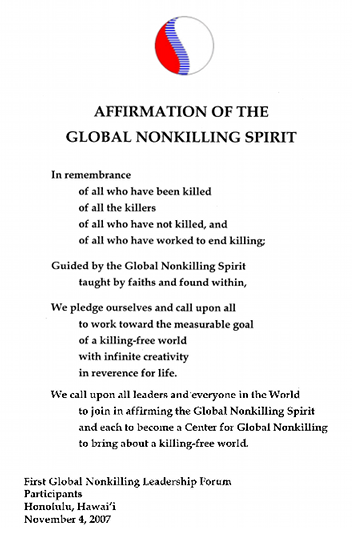 Affirmation of the Global Nonkilling Spirit